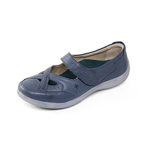 Padders Women's Leather Shoe 'Cello' | Dual Fit System | Extra Wide EE-EEE Fit | Free Footcare UK shoehorn Ocean eedZ4aGdK