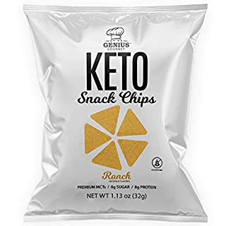 Genius Gourmet Protein Keto Chips, Low Carb, Premium MCTs, Gluten Free, Keto Snack (Ranch)