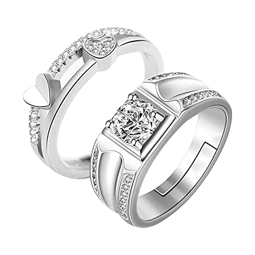 Adjustable Women Rings - 2PC Couple Ring Adjustable Ring Jewelry Promise Engagement Rings (D8)