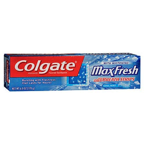 Colgate Max Fresh Toothpaste with Mini Breath Strips, Cool Mint, 6 Oz.