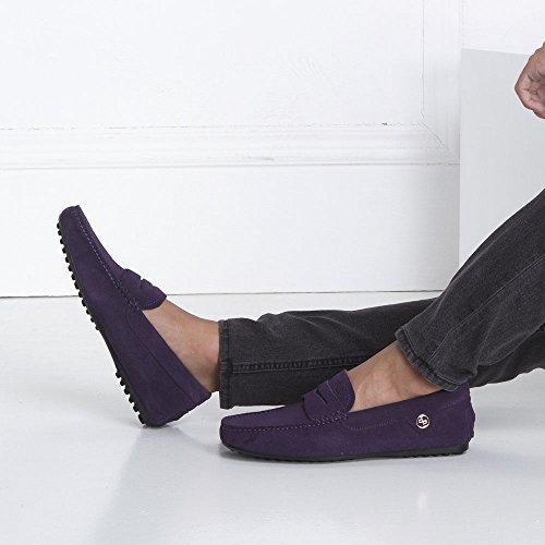 Opp Mens Classic Fashion Slip-on Driving Mocassini Casual Scarpe Mocassini In Pelle Liscia Collezione 2016 Viola