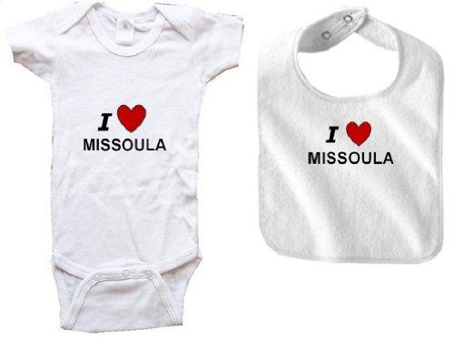 I LOVE MISSOULA - MISSOULA BABY - 2 Piece Baby-Set - City-series - White Baby One Piece Bodysuit / Baby T-shirt and White Bib - size Newborn (0-6M) Battle 4 Piece Body