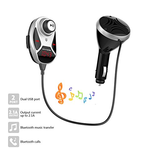 Brand New and LCD display Bluetooth FM Transmitter car Charger for hands free call built-in microphone Support Bluetooth hands-free FM Transmitter USB Disk/Micro SD Card by EinCar