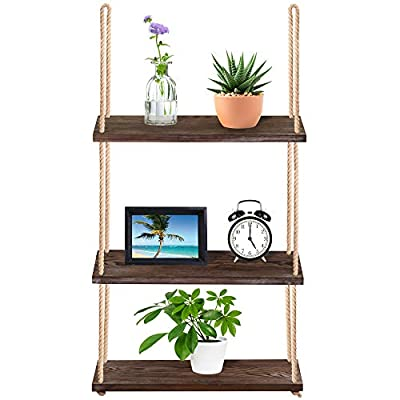"""Supla 40.4"""" Tall Wood Hanging Shelf Window Shelf Wall Shelf Plant Shelf Rope Shelf Storage Shelf Wooden 3 Tier Hanging Shelves Organizer Swing Shelf Floating Shelves for Kitchen Bathroom - Quantity: 3 Tier Wood Hanging Shelf Window Shelf Wall Shelf Rope Shelf and 2 pcs Ceiling Hooks.It comes fully assembled, just need to install the included hooks to hang it. These hanging rope shelves storage shelf are the perfect way to showcase your favorite items. Whether used to hold family framed photos, scented candles, books, or succulents, favorite plants, flowerpot, ornamental pots and bottles, it is perfect for displaying all of your prized items, while simultaneously amplifying your home decor. Hang the swing shelves from hooks on the wall or ceiling for an incredible accent that can help you stay stylish and organized! Material: Hanging rope shelf are made of naturally aged wood and slightly added an off-white finish. The wooden shelves have been sanded, but there are imperfections (dings and knots) making each piece unique. This hanging wooden floating wall shelf features a three-tier design made of three stacked wood boards attached to strong, thick jute ropes at each end for convenient hanging. - wall-shelves, living-room-furniture, living-room - 41gFbSmJdML. SS400  -"""