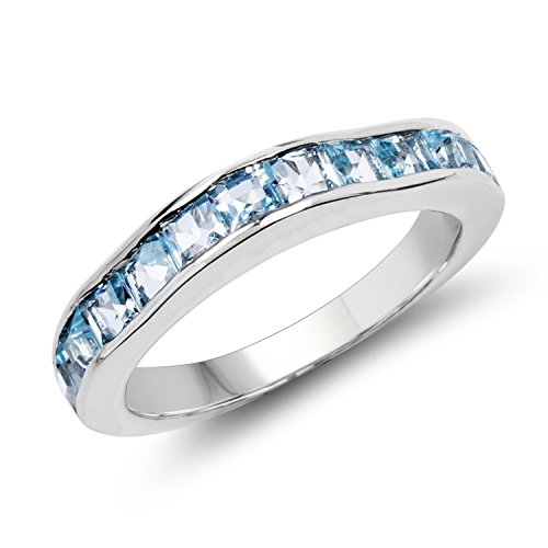 3.00MM Square Blue Topaz Ring in .925 Sterling Silver, Real Genuine Blue Topaz Mother's Day Gift (2.25ctw)