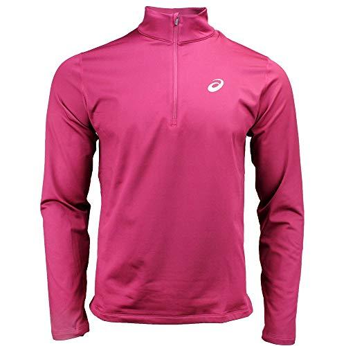 ASICS Mens Silver Long Sleeve Winter 1/2 Zip Outdoor Outerwear Burgundy - Jacket Asics Mens