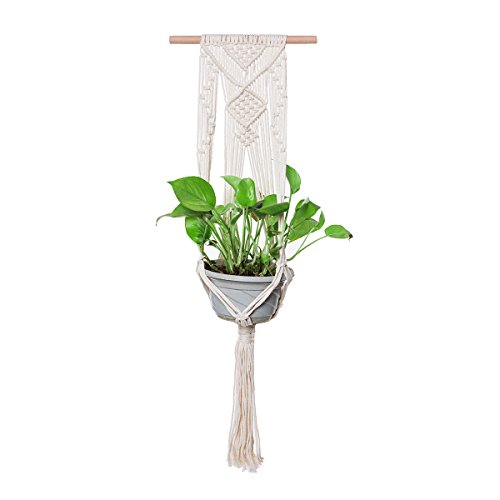 THY COLLECTIBLES Hand-Weaved Macrame Plant Hanger Indoor Outdoor Hanging Planter Basket Cotton Rope 4 Legs Creamy White (40