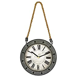 Dunes Hanging Round Wall Clock 6 Roman Numeral Metal Wall Clock Retro Vintage Home Decoration