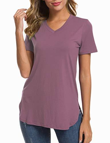Grape Nectar - Herou Casual T-Shirt V-Neck Tunic for Women Grape Nectar Small