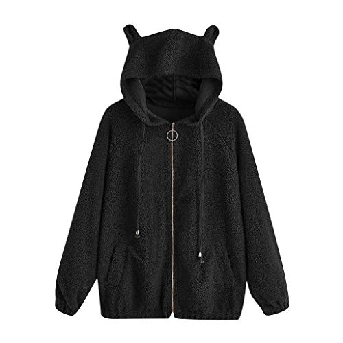 TUSANG Women's Sweatshirts Casual Solid Color Blouse Long Sleeve Bear Ears Zip Pocket Hooded Jacket Coat(Black,US-10/CN-XL) (Difference Between Faux Leather And Bonded Leather)
