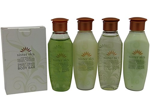 Sister Sky Sweet Grass Travel Set Shampoo Conditioner Lotion Body Wash & (Hair Formula 37 Vitamins)