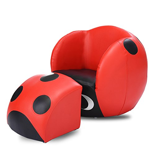 Costzon Kids Sofa Chair Ottoman Sets Armchair with Footstool for Relaxing, Insect Shape Red & Black Color Chair Ottoman Couch