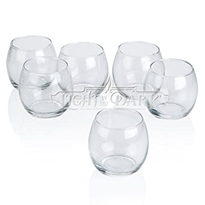 Light In The Dark Clear Glass Hurricane Votive Candle Holders Set of 12