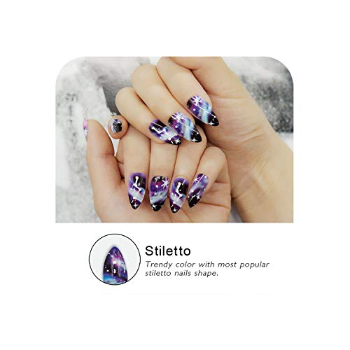 False Nails Stiletto False Nails With Designs Long Shining Fake Nail Tips 24Pcs Finger Nail Art