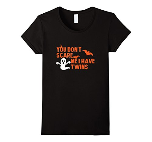 Twins Day Costumes (Womens You Don't Scare Me I Have Twins The Cool Halloween T-shirts Medium Black)