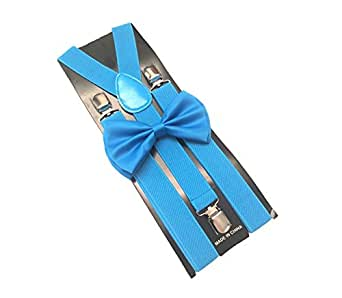 light blue mens bowtie set youth bow tie and suspenders