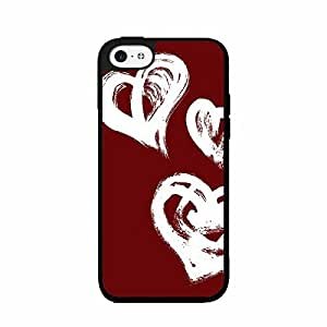 Heart Pattern on Red Background TPU RUBBER SILICONE Phone Case Back Cover iPhone 4 4s