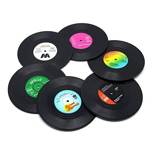 (Unilive Retro Record Disk Design Drink Vinyl Coasters Non-slip Cup Bottle Wine Glass Mats,Soft Silicone Drink Coasters Holder -)