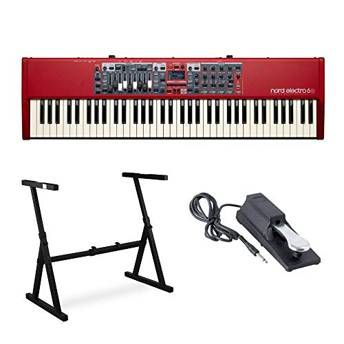 (Nord Electro 6D 73-Key Semi-Weighted Action Keyboard with Nine Drawbars Bundle Includes Knox Z-Style Stand and Sustain Pedal)