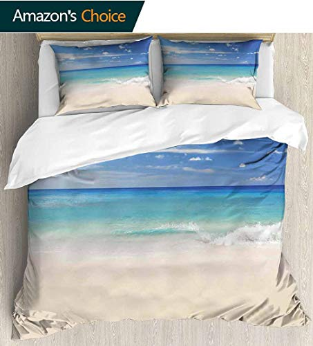 shirlyhome Ocean Print Comforter Quilt Set,Tropical Haven Style Sandy Shore and Sea with Waves Escape to Paradise Theme with 1 Pillowcase for Kids Bedding 68