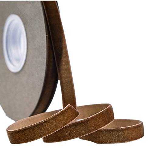 Ribbon for Crafts -Wholesale Bulk 20 Yard 3/8 5/8 1Inch Velvet Ribbon for Gift Package Wrapping Floral Design Hair Bow Clip Accessory Making Sewing Wedding Decor (Brown, 10mm)
