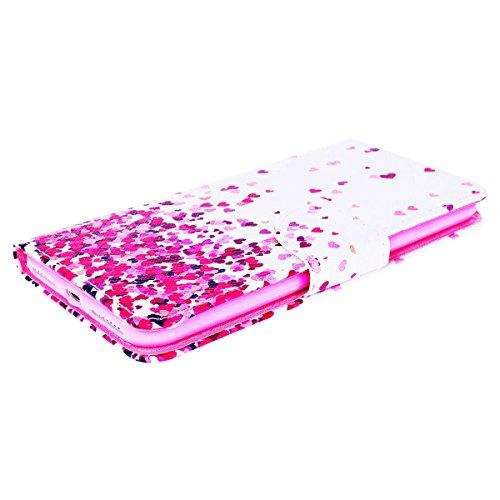 Funda iPhone 6 Plus, WE LOVE CASE Piel y Tipo Cartera Carcasa Funda iPhone 6S Plus con Tapa Flip Wallet caso de Cuero Billetera Original Funda Que Se Pega con Ranura Para Tarjeta Card Holder y Stand C Rosado