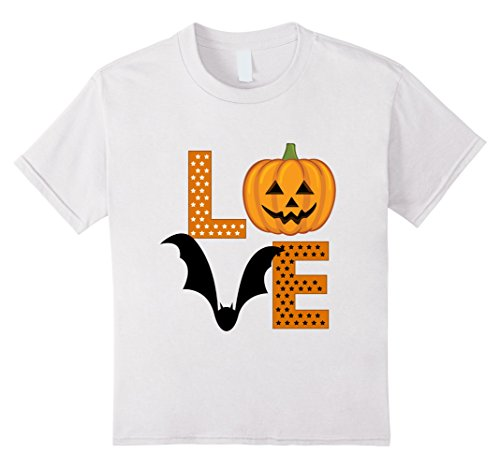 Kids Halloween Bat Jack-o-lantern Pumpkin Girls Ladies Tshirt 12 White