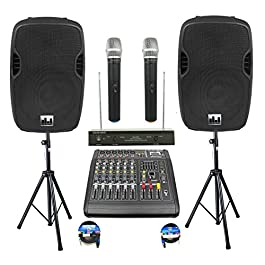 Complete Professional 2000 Watts PA System 6 Ch Mixer 10″ Speakers Dual Wireless Mics Stand