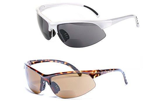 2 Pair of Unisex Bifocal Sport Wrap Sunglasses - Outdoor Reading Sunglasses (Silver/Tortoise, 1.75)