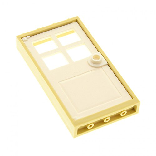 LEGO City Town Tan Door Frame 1 x 4 x 6 and White Door 1 x 4 x 6 with 4 Panes and Stud Handle - Loose (Grau Ferrari)