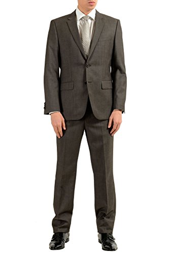 Hugo Boss The Grand1/Central1US Men's 100% Wool Dark Gray Two Button Suit SZ US 36S IT - Hugo Wool Suit
