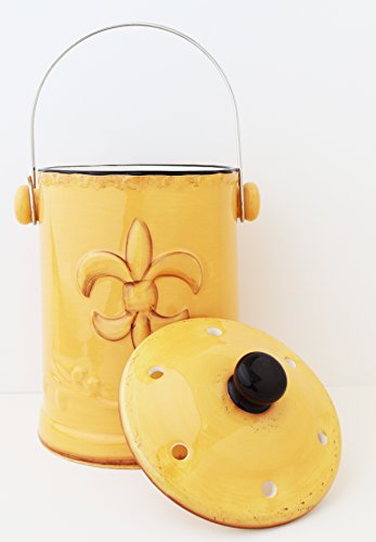 Tuscany Colorful Yellow Fleur De Lis, Hand Painted Ceramic Compost Jar, 82082 By -