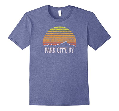 Blue Set Polyester Parka (Mens Retro Park City Utah Mountain Sunset Winter T-Shirt Large Heather Blue)