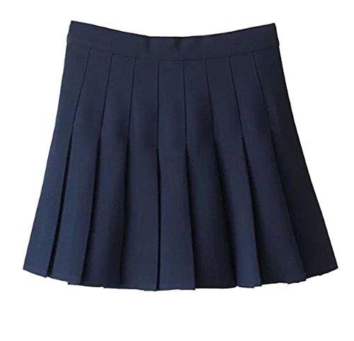 Mini Plaid Blue - Women School Uniforms plaid Pleated Mini Skirt Dark Blue a 12