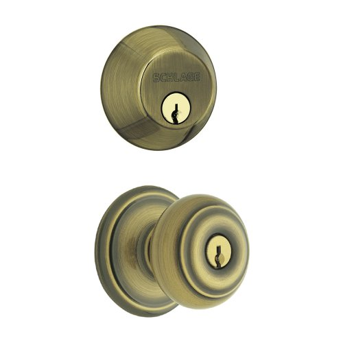 Schlage FB350VGEO609 Georgian Combo Kit, Antique Brass