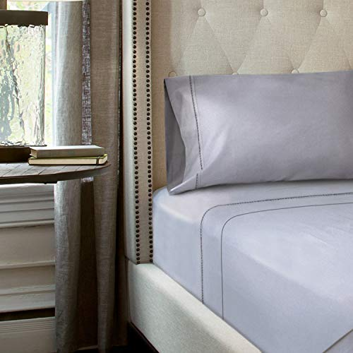 TEMPUR-PEDIC Cool Luxury Sheet Set - Luxurious Softness and Breathable Fabric Keep You Comfortable - Queen, Silver Sconce - Includes 2 Standard Pillowcases, 1 Queen Flat Sheet, 1 Queen Fitted Sheet