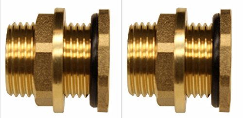 "RAINPAL BBF020 Solid Brass Bulkhead Tank Fitting (1/2 inch Straight Female Pipe and 3/4"" Male Garden Hose Threaded) (2)"