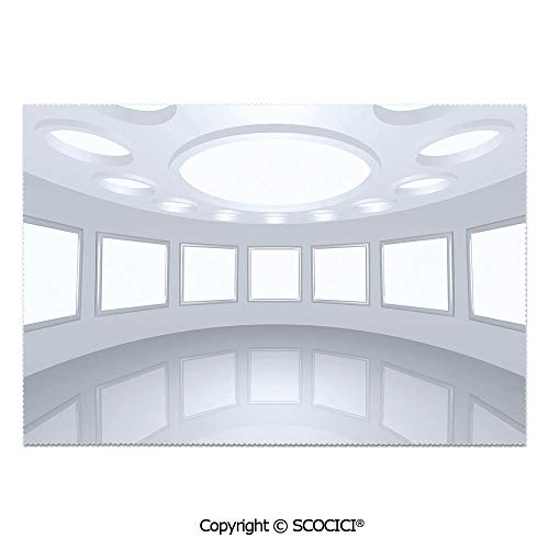 SCOCICI Set of 6 Printed Dinner Placemats Washable Fabric Placemats 3D Visualization of Futuristic Interior Empty Picture Gallery Architecture for Dining Room Kitchen Table Decoration