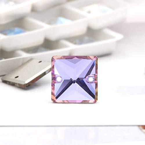 Calvas 14mm All Colors Square Shape Glass Crystal Sew On Rhinestones K9 Glass Flatback 2holes Sewing Jewelry Beads - (Color: vitrail Light, Item Diameter: 14mm 20pcs) ()