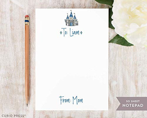 CASTLE LUNCH NOTEPAD - Personalized Kids Mom Stationery/Stationary 5x7 or 8x10 Note Pad