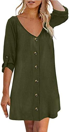 Flowy Button Down Tunic DressJKioleg 3/4 Sleeve V Neck Mini Casual Solid Plain Dresses Blouse for Beach (S Army Green)