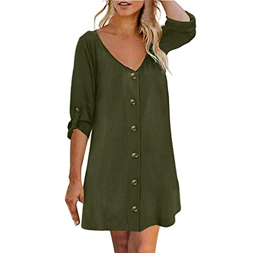 Mikilon Women Button Down Half Sleeve Tunic Dress V Neck Loose Caual Shift Dresses Army Green