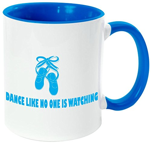 Rikki Knight''Dance Like No One Is Watching Quote'' - Funny Quotes Light Blue Handle and Inside Design 11oz Ceramic Coffee Mug Cups by Rikki Knight