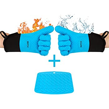 Silicone Cooking Gloves Quilted Cotton Lining, Long Waterproof Non-slip Oven Gloves Heat Resistant, Professional Thick Oven Mitts for Kitchen, Baking, Grilling, BBQ, 1 Pair, Blue, Pot holder as Bonus