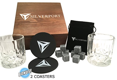 ELITE WHISKEY GIFT SET – LARGE WHISKEY GLASSES – NATURAL WHISKEY STONES – ALL PACKAGED IN AN ELEGANT WOODEN GIFT BOX BY SILVERPORT