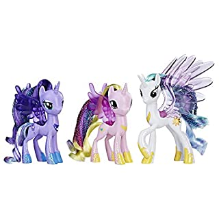 My Little Pony Princess Celestia, Luna, and Cadance 3 Pack – 3-Inch Glitter Unicorn Toys With Wings from the Movie (Amazon Exclusive)