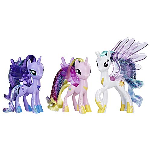 My Little Pony Princess Celestia, Luna, and Cadance 3 Pack - 3-Inch Glitter Unicorn Toys With Wings from the Movie (Amazon Exclusive)