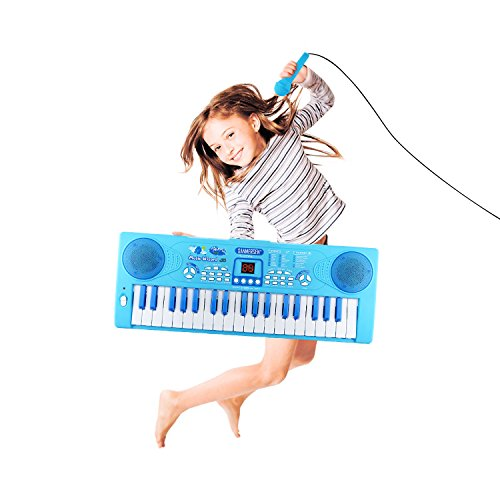 Sanmersen Kids Piano Keyboard 37 Key Multi-function Portable Electronic Digital Piano Play with Double Speakers Colorful Lights Educational Toy for Toddlers Children Mini Childrens Piano