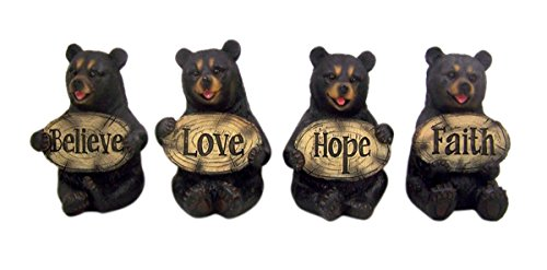 Set of 4 Bears of Grace Figurines Holding Inspirational Plaques, 3 1/4 Inch -