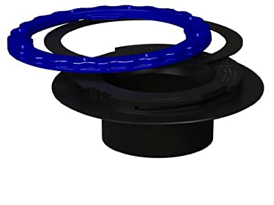 Culwell A3 Premium Property Saving Toilet Flange with ABS Surface Seal Glue-in and Black/Blue Ring, 3-Inch
